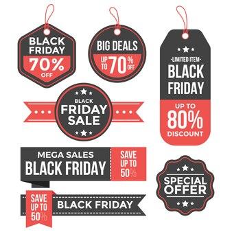 Verzameling van zwarte vrijdag-tags
