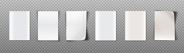Verzameling vellen papier met verschillende textuur voor notities. geïsoleerd