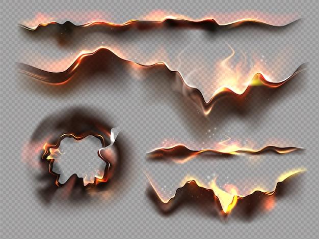 Verzameling verbrande papieren randen met zwarte as