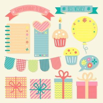 Verzameling verjaardag decoratieve plakboekelementen
