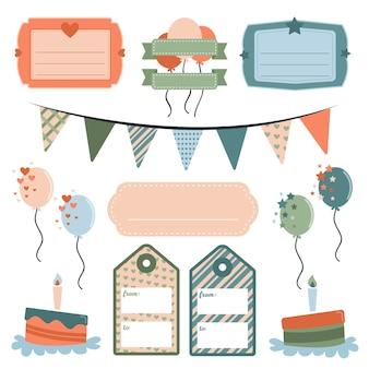 Verzameling verjaardag plakboekelementen