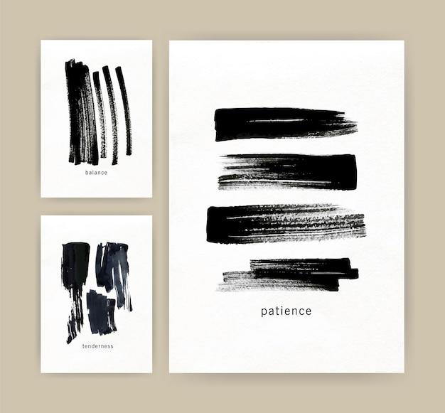 Verzameling verticale minimalistische kaartsjablonen met zwarte inkt