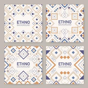 Verzameling vierkante achtergronden met traditionele geometrische azteekse ornamenten, decoratieve kaders of randen.