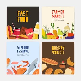 Verzameling vierkante kaarten van fastfood, boerenmarkt, zeevruchtenfestival en bakkerijproducten