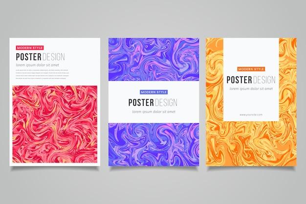 Verzameling vloeistof effect poster sjablonen