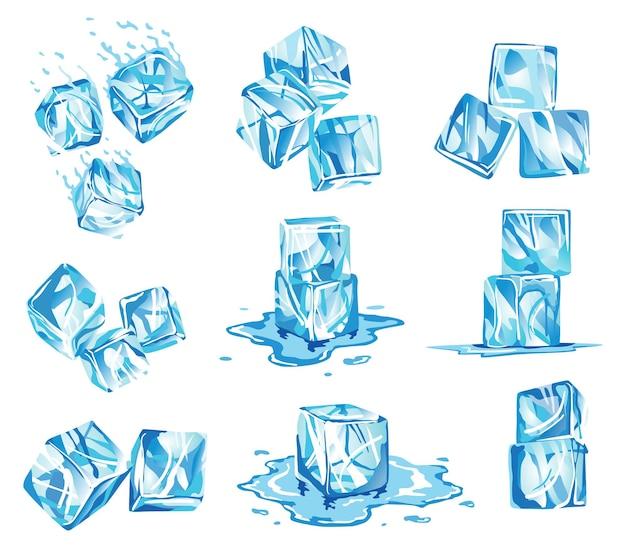Verzameling waterijsblokjespictogrammen. bevroren waterdeeltjes. set doorschijnende ijsblokjes in blauw