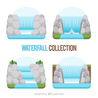 Verzameling watervallen in vlakke stijl