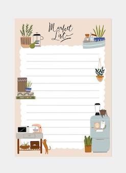 Verzameling wekelijkse of dagelijkse planner, notitiepapier, lijst, stickersjablonen versierd met interieur