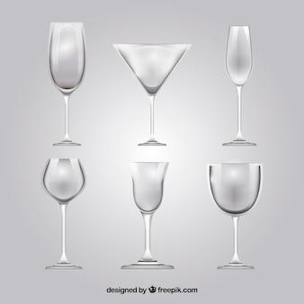Verzameling wijnglazen in realistische stijl