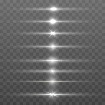Verzameling witte horizontale lens flares pack