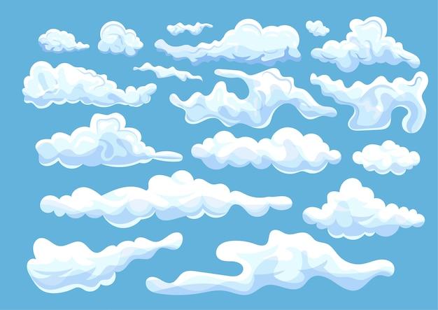 Verzameling witte verschillend gevormde wolken