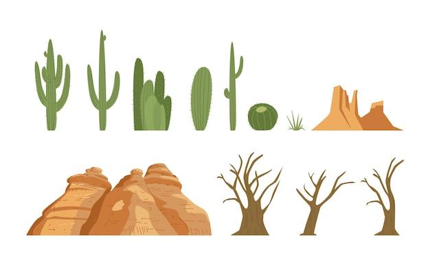 Verzameling woestijnlandschapselementen cactus gedroogde bomen zandrotsen