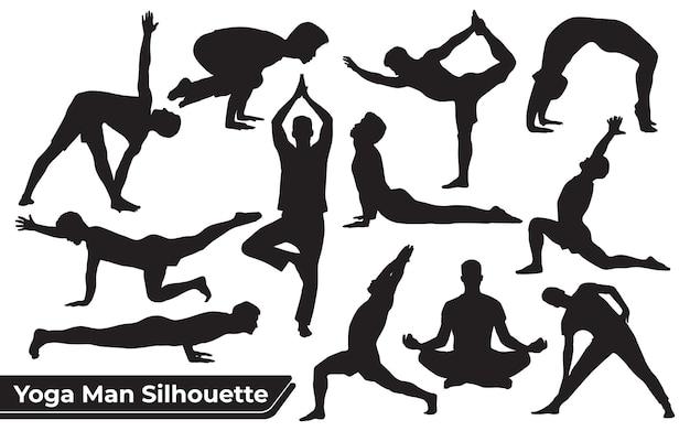 Verzameling yoga silhouetten in verschillende poses