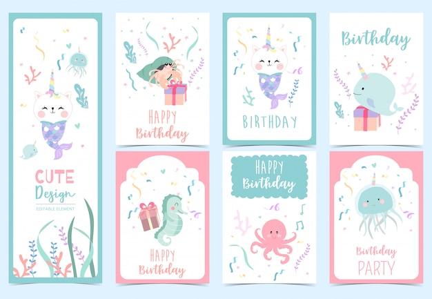 Verzameling zeemeermin-kaarten met hermit-krab, zeepaardje. illustratie voor verjaardagsuitnodiging