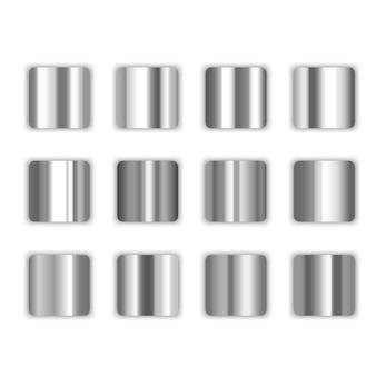Verzameling zilveren gradiënten van illustraties met zilveren gradiënt