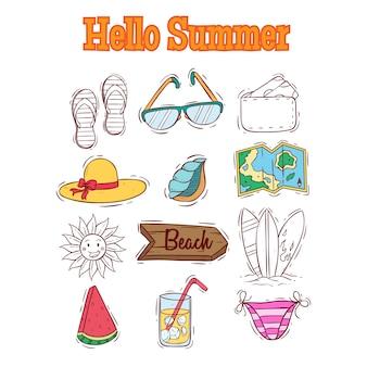 Verzameling zomer elementen met hallo zomer tekst en doodle stijl