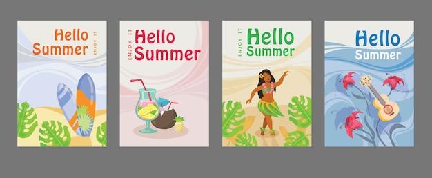 Verzameling zomerposters met surfboard, cocktail, meisje, gitaar, oceaan. hallo zomer inscriptie