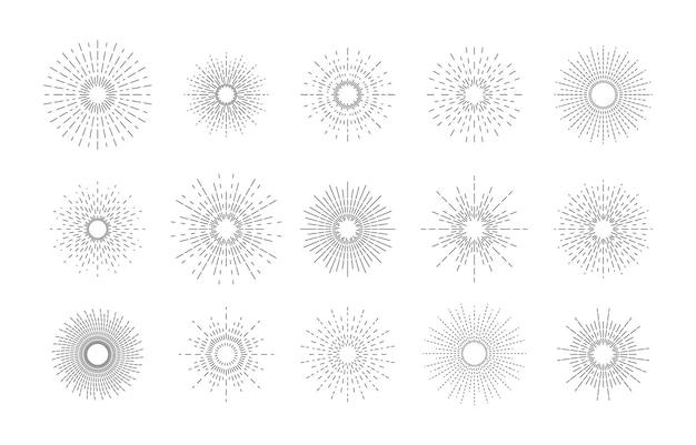 Verzameling zonnestralen, explosie-effecten, vuurwerk, zwarte stralen.