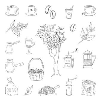 Verzameling zwart-wit illustraties van koffie in schetsstijl. handtekeningen in kunst inkt stijl.