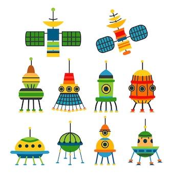 Verzamelingen van verschillende ruimteschepen en satellieten