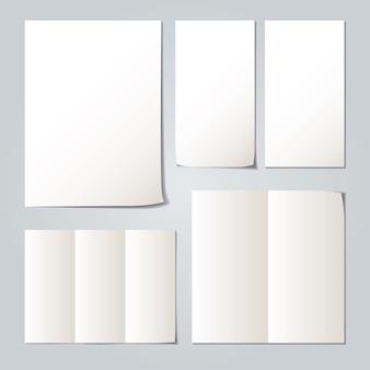 Verzamelingen witte gevouwen papiersets