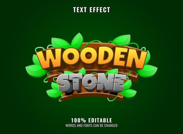 Verzamelset van hout met takbladsjabloon voor spandoek voor game-ui-activa-elementen