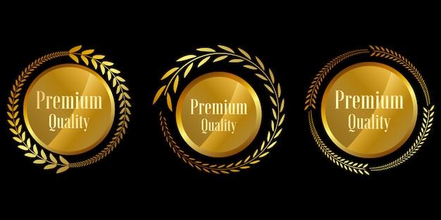 Verzegel gouden badges en etiketten premium kwaliteit