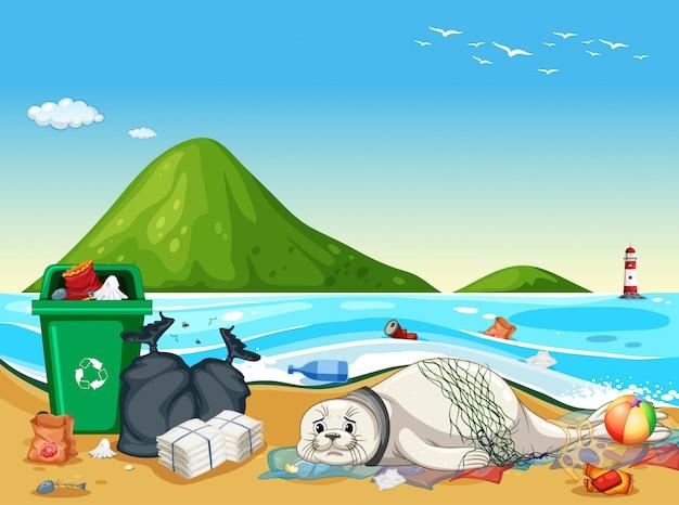 Verzegel met plastic zakken op het strand