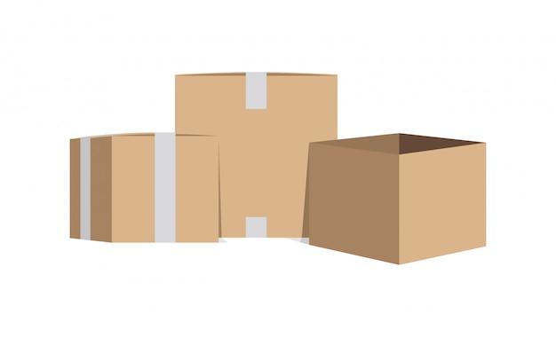 Verzegelde en open kartonnen dozen