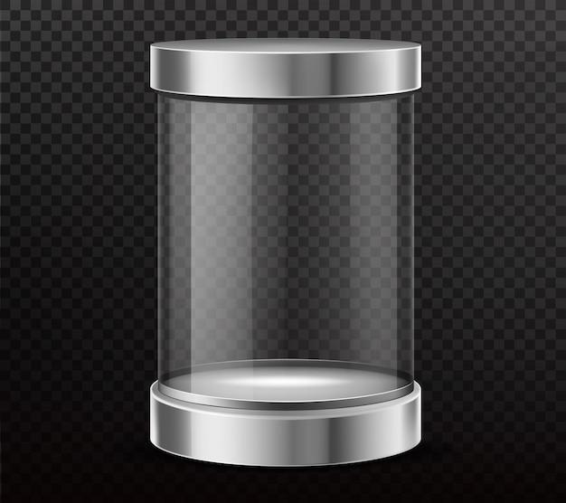 Verzegelde, glazen cilinder capsule realistische vector