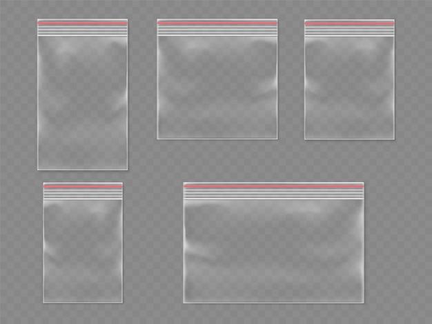 Verzegelde plastic 3d-zakken of realistische plastic verpakking met zelfklevende flap.