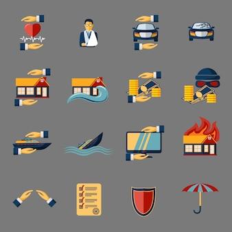 Verzekering beveiliging icons elements set