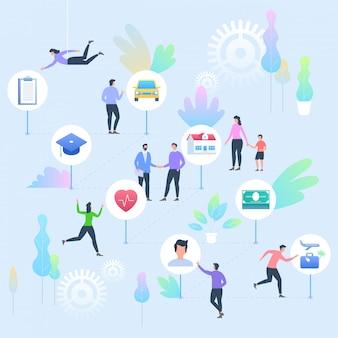 Verzekering concept. mensen met verzekeringsdiensten pictogrammen van auto, onderwijs, huis, gezondheid, leven en reizen.