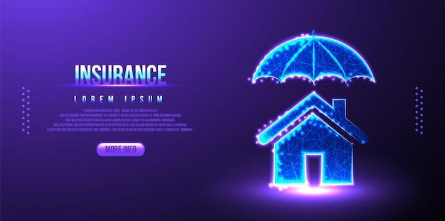 Verzekering, huis, paraplu laag poly draadframe mesh ontwerp
