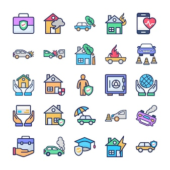 Verzekering icons set