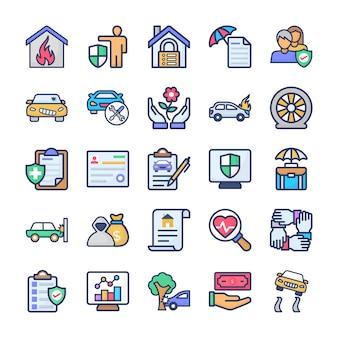 Verzekering pictogrammen bundel