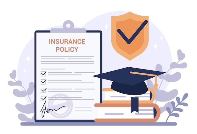 Verzekering webbanner. idee van veiligheid en bescherming van onderwijs. universiteit en veiligheid leren.