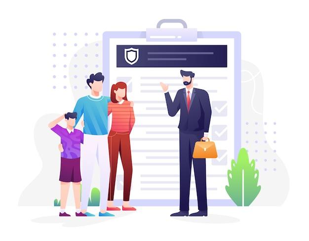 Verzekeringsagent illustratie met agent die over verzekering aan een gezin als concept uitlegt. deze illustratie kan worden gebruikt voor website, bestemmingspagina, web, app en banner.