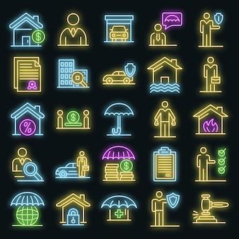 Verzekeringsagent pictogrammen instellen. overzicht set van verzekeringsagent vector iconen neon kleur op zwart