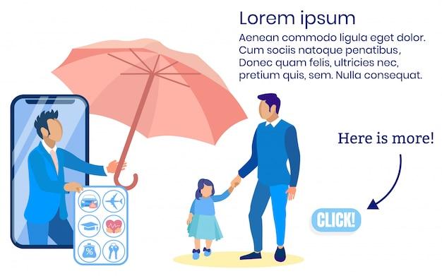 Verzekeringsagent toont type verzekeringsman met meisje