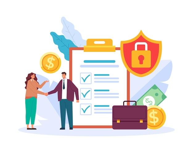 Verzekeringsagentschap overeenkomst deal concept plat grafisch ontwerp illustratie