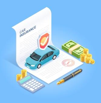 Verzekeringscontract document met pen geld munt en rekenmachine. isometrische illustratie