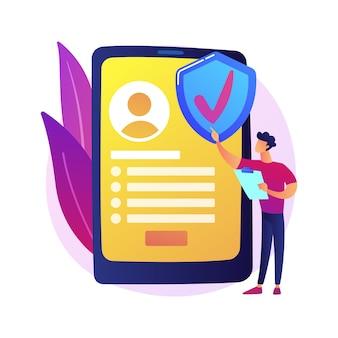 Verzekeringsdienst op aanvraag. digitale verzekeraar, mobiele app, innovatief bedrijfsmodel. vrouwelijke klant die online een verzekeringspolis bestelt