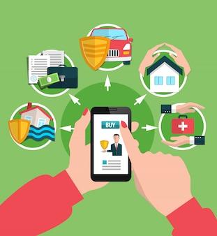 Verzekeringsdiensten die online illustratie kopen