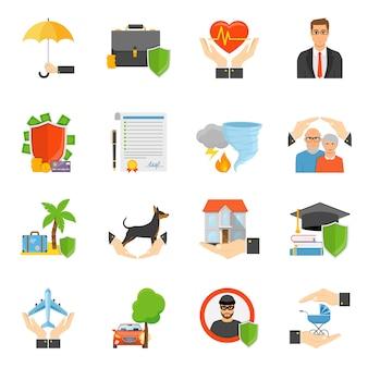 Verzekeringsmaatschappijen symbolen vlakke pictogrammen instellen