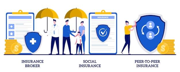 Verzekeringsmakelaar, sociale verzekeringen, peertopeer verzekeringen. set van risicoverzekering, noodrisico