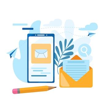 Verzend e-mail. concept van de oproep, adresboek, notaboek. neem contact op met ons pictogram.