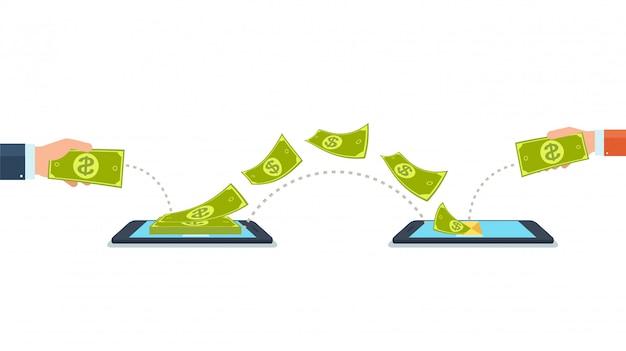 Verzend en ontvang geld met mobiele telefoons, gadgets.