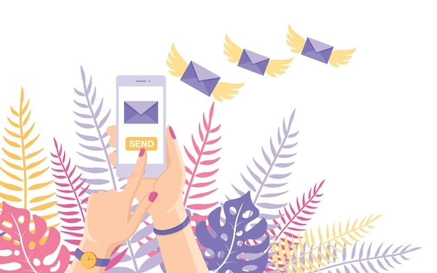 Verzend of ontvang sms, brief, bericht met witte mobiele telefoon. vliegende envelop met vleugels