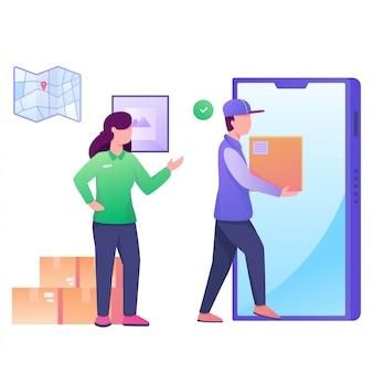 Verzend pakket met mobiele instructieillustratie